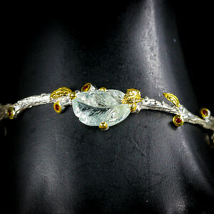 Vintage-Natural-Aquamarine-925-Sterling-Silver-Bangle-Inches-2-75-BA01484