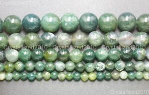 Natural-Green-Moss-Agate-Gemstone-Round-Beads-4mm-6mm-8mm-10mm-12mm-15-039-039-Strand