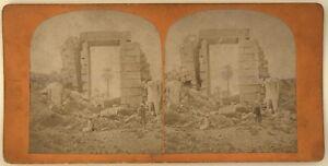 Tebe-Tempio-Egitto-Foto-Stereo-PL39-Stereoview-Vintage-Albumina