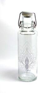 Soulbottle-039-Just-breathe-039-Trinkflasche-aus-Glas-ohne-Plastik-0-6-Liter
