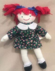 7-Handmade-Rag-Doll-Plush-Stuffed-Girl-Flower-Dress-Red-Hair-Tiny-Cloth-Toy