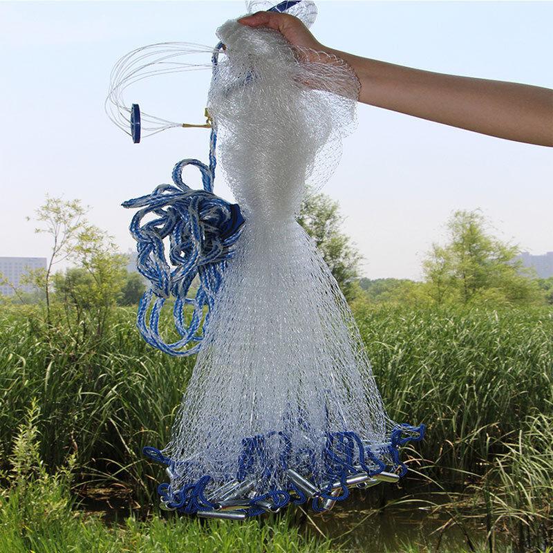 822ft Hand Cast Mono Fishing Net Spin Network Saltwater Bait Fish Net  Sinker