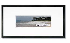 Set Of 2 10x20 Black Wood Frames Glass 8 Ply White