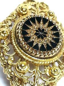 f6aacff4c92 VINTAGE BLACK ONYX MEDALLION PIN BROOCH IN GOLD TONE WOMEN LADIES ...