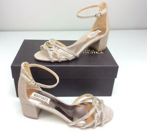 61bf8122049 Image is loading Badgley-Mischka-Sonya-Heeled-Sandal-Platino-Diamond-Drill-