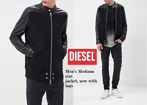 new concept 16d8d 40f96 Details about Diesel Men's Medium L-GROHL Giacca lightweight Jacket Leather  sleeves, Black NWT