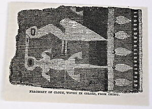 small-1883-magazine-engraving-FRAGMENT-OF-CLOTH-FROM-CHIMU-Peru