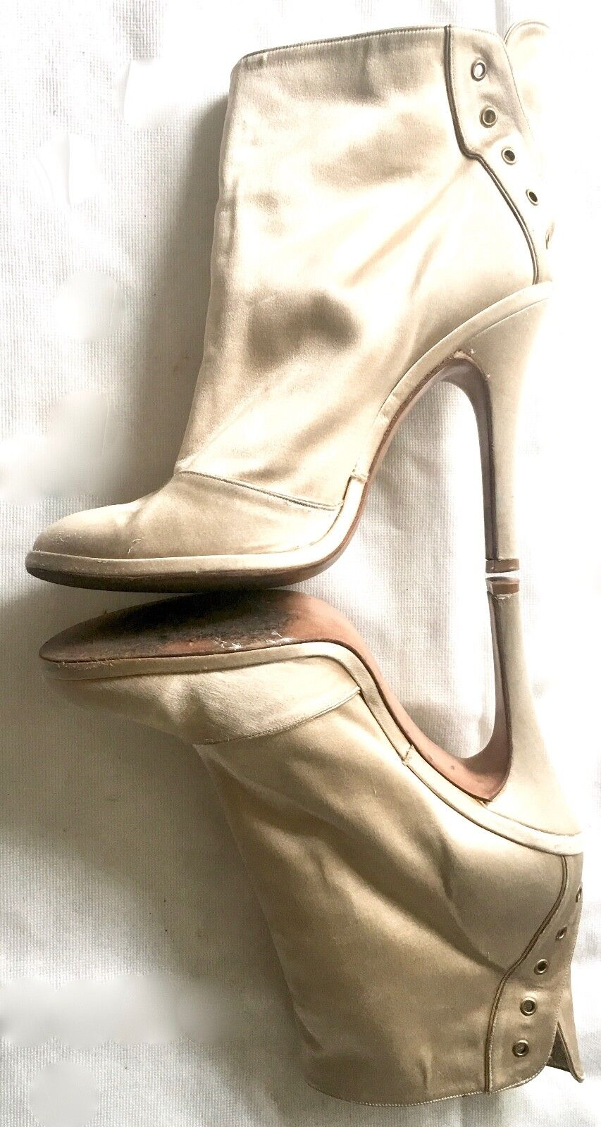 MARC JACOBS Champagne Beige Satin Lace Up Booties Ankle Boots, Boots, Boots, Size 40 Eur 9 US 92ffd4