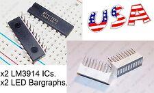 x2 LM3914 IC LED Display Driver + x2 LED Bargraph 10-Segs (Bar Graph Light) USA