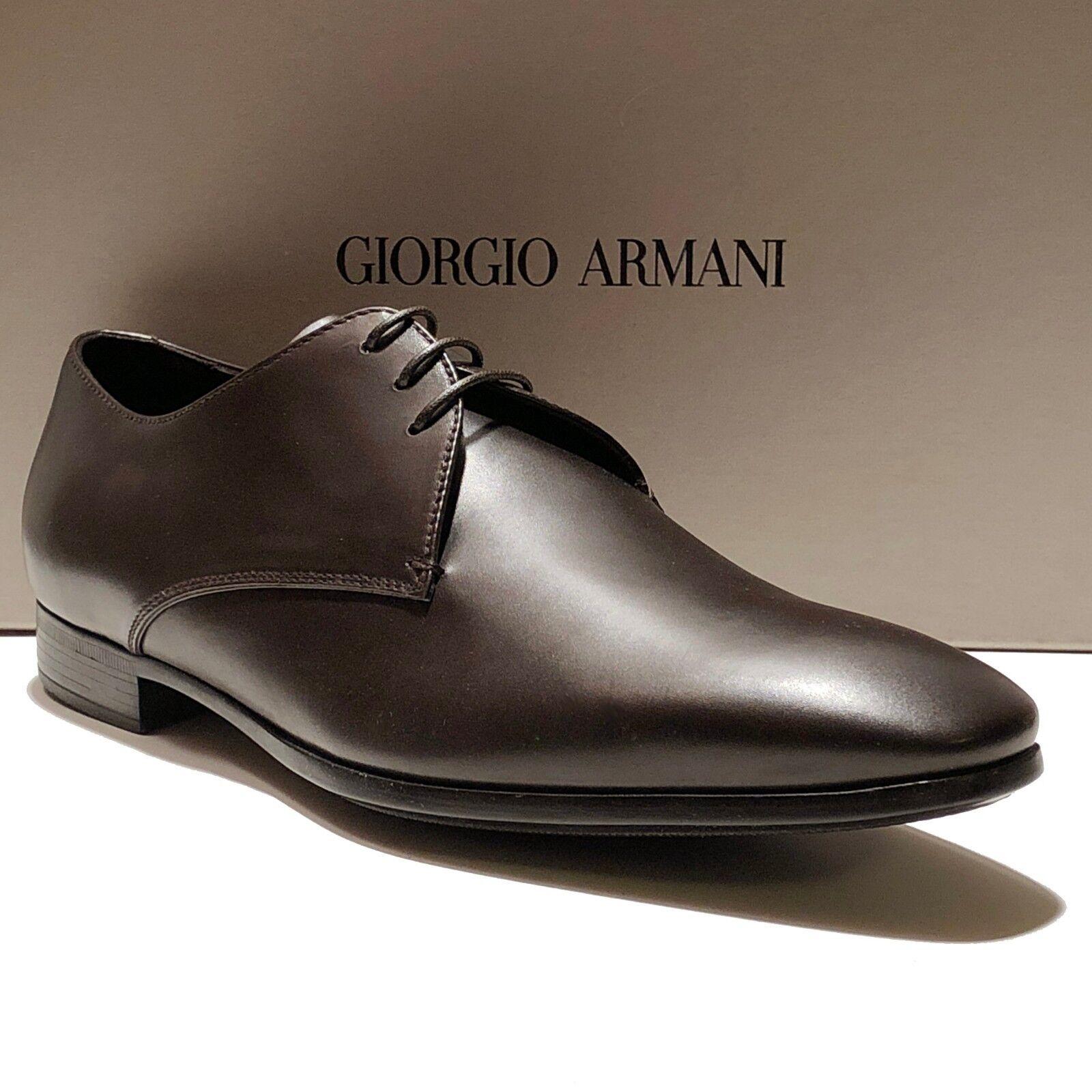 Giorgio Armani ITALY Marronee 10.5 43.5 Leather Formal Dress Oxford Men's scarpe