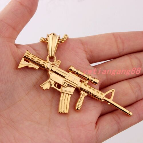 Multi-choose Gun Rifle Pendant Chain Stainless Steel Silver//Gold//Black Necklace