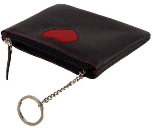 Rouge et Noir Mala Cuir Love Coeur Coin Clé et Carte Sac à main