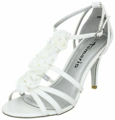 Tamaris White Beaded Floral Detail Ankle Strap Stiletto Wedding Mid Heel Sandals