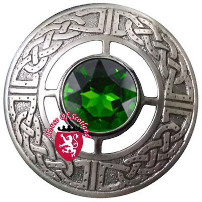 Schottisch Kilt Plaid Brosche Irisches Grün 5 Stein Antik Finis Keltisch
