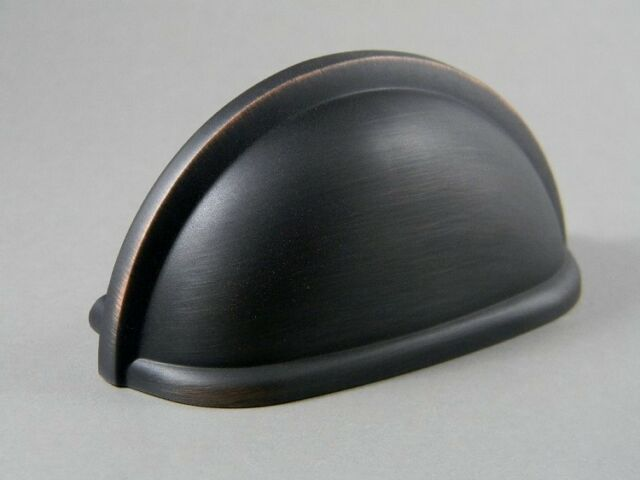 """100 Oil Rubbed Bronze Bin Cup Pull 3/"""" Cup Pull BOX of 100"""