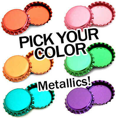 100 Metallic Bottle Caps PICK A COLOR Shiny Colors Craft Linerless FREE SHIPPING
