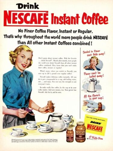 Vintage magazine coffee advert Drink Nescafe Poster reproduction.
