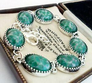 Vintage-1950s-CZECH-Green-Peking-Marble-Glass-Small-Oval-Cabochon-Bracelet