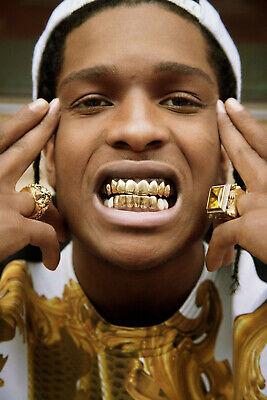 14 24x36 Asap Rocky Gold Teeth A$ap Rapper Hip Hop Music Art Silk Poster Y-467