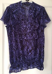 Ladies-Debenhams-Collection-Short-Sleeved-Blouse-Size-12-Excellent-Condition