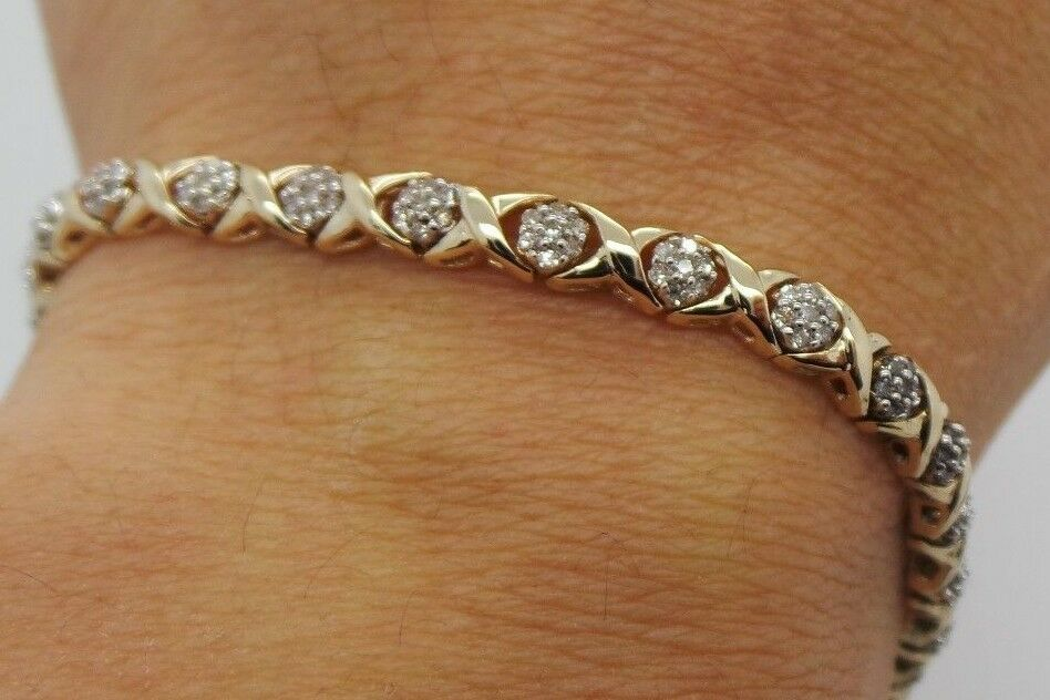 STUNNING 10K YG LADIES DIAMOND TENNIS BRACELET 7  LONG 1.50 CARAT TW  BB54638-1