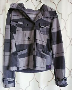 Hurley-Size-Small-Gray-Jacket-Hooded-Plaid-100-Cotton-Pocketed-Long-Sleeve-Top