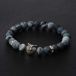 8MM-Mens-Spot-Natural-Lava-Stone-Gold-Silver-Owl-Beaded-Charm-Bracelets-2017-New