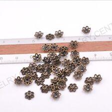 FREE SHIP 100Pcs Tibetan Silver Metal Flower Loose Spacer Beads Caps Lots 6MM