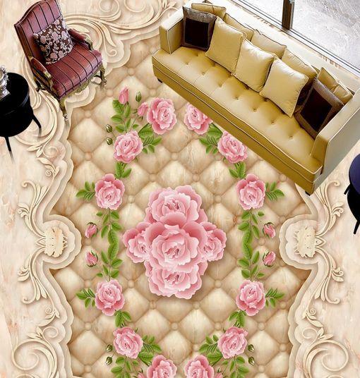 3D Pure Fleur Fond d'écran étage Peint en Autocollant Murale Plafond Chambre Art