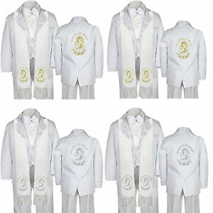 5pc Baby Boy Virgin Mary Pope Stole Baptism Necktie or Bow Tie Vest Suit Sm-7