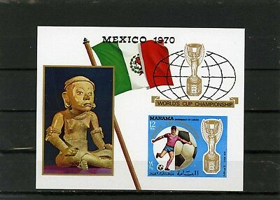 SchöN Manama 1970 Bl #57b Soccer World Cup Mexico S Imperf Mnh Gute WäRmeerhaltung