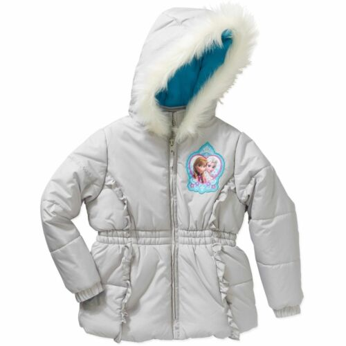 New Disney Frozen Girls/' Sisters Forever Puffer Coat Silver Elsa Fur 4 5 XS M S