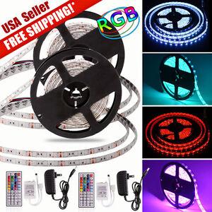 2x Waterproof 5M 5050 RGB SMD 300 LED Strip Light 44Key Remote &12V Supply Power