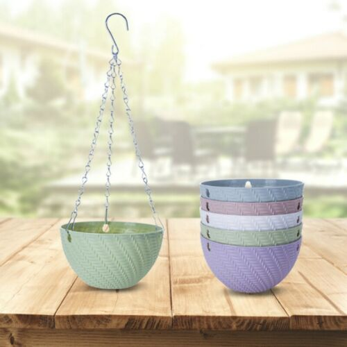 Plastic Round Hanging Basket Flower Pot Garden Decoration Plant Chain Planters