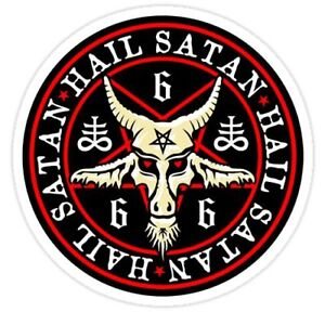 hail satan 666 baphomet pentagram devil wicca black magic sticker or