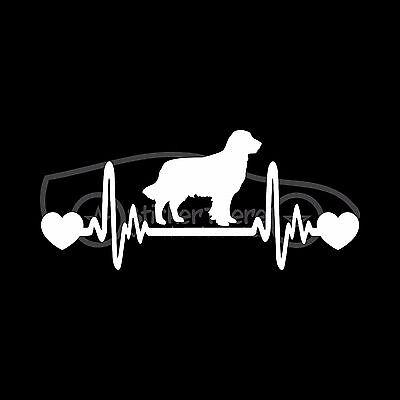 GOLDEN RETRIEVER HEARTBEAT Sticker Heart Decal Dog Breed Love Rescue Gold Adopt