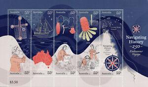 Australia Ships Stamps 2020 MNH Navigating History James Cook Endeavour 10v M/S