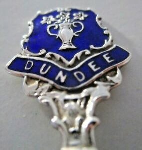 Solid-Silver-amp-Enamel-Souvenir-Spoon-Dundee-Hallmarked-1963