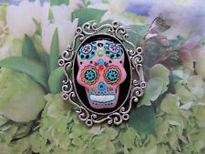 Goth /Day of the Dead PINK Sugar SKULL CAMEO A.SP BROOCH/PIN /Tie Tack