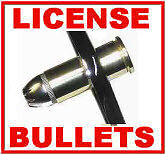 NICKEL SHELLS 44 MAG BULLET LICENSE PLATE BOLTS WITH NUT COVERS M