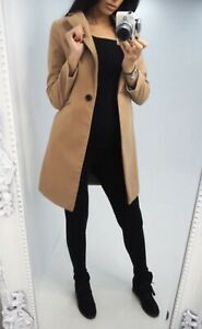 Details about Ladies Coat Womens Jacket Wool Look Military Long Button Warm Winter Lined New