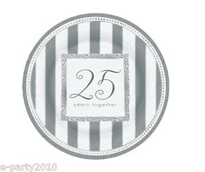 Image is loading 25th-WEDDING-ANNIVERSARY-Silver-Wishes-LARGE-PAPER-PLATES-  sc 1 st  eBay & 25th WEDDING ANNIVERSARY Silver Wishes LARGE PAPER PLATES (8 ...