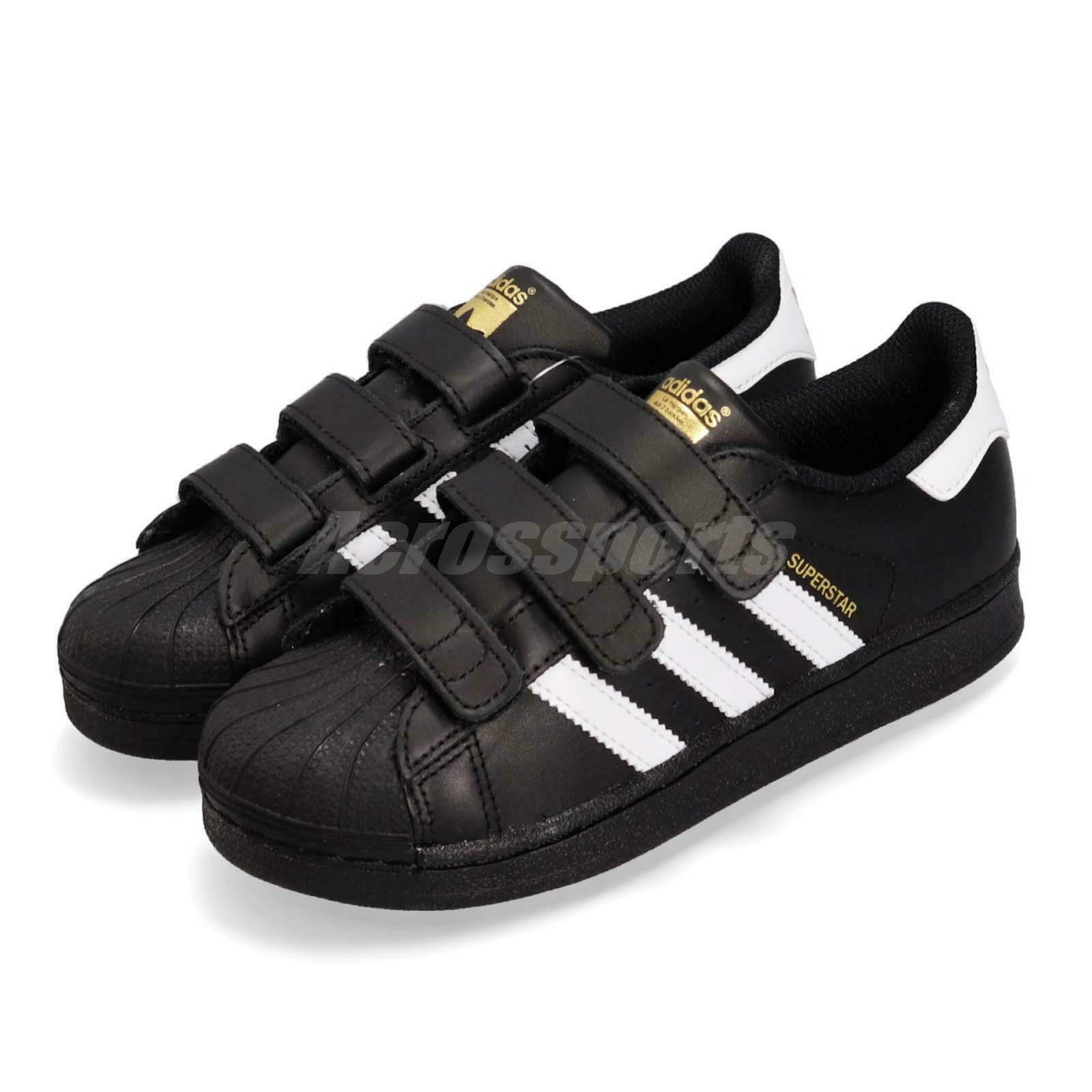 Adidas Superstar CF C Black White gold Strap Kids Casual Athletic shoes B26071