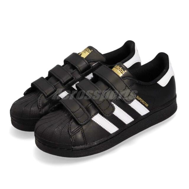 quality design 5bfe9 69cee adidas Superstar CF C Black White Gold Strap Kids Casual Athletic Shoes  B26071