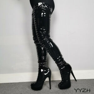 Femmes-Plateforme-Sexy-Rivets-Cuisse-Haute-Brillant-Bottes-stiletto-high-heels-bottes-taille