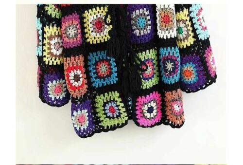 Rat and Boa Boho HOOD GRANNY SQUARE Hand Knit Lace Crochet Cardigan Jacket M
