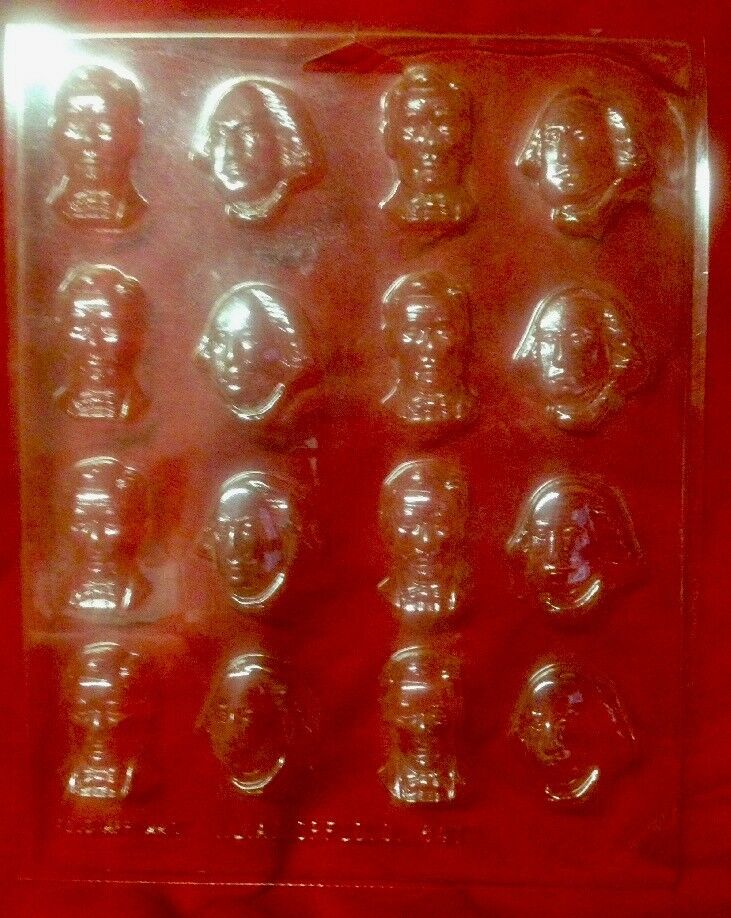 Washington Lincoln Presidents plastique Candy Mold vintage i.l.a 847 Rare USA
