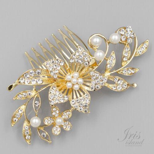 Bridal Hair Comb Pearl Crystal Headpiece Hair Clip Wedding Accessory 09903 Gold