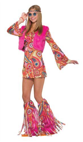 Ladies Hippy Costume 60s 70s Groovy Adult Fur Flower Hippie Fancy Dress Outfit