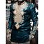 Homme Ethnique Africain Imprimé Floral T-shirt Tops chemisier à manches longues Casual Manteau